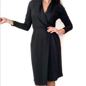 Black Silk Dress Vintage Liz Claiborne Long Sleeve
